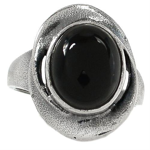 טבעת כסף מעוצבת, משובצת אבן אוניקס שחורה  RG5747 | תכשיטי כסף 925 | טבעות כסף