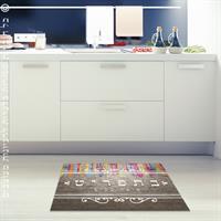 """שטיח פי וי סי למטבח """"היום בתפריט""""  שטיח למטבח  שטיח פי וי סי   שטיח PVC   שטיחי פי וי סי מעוצבים"""