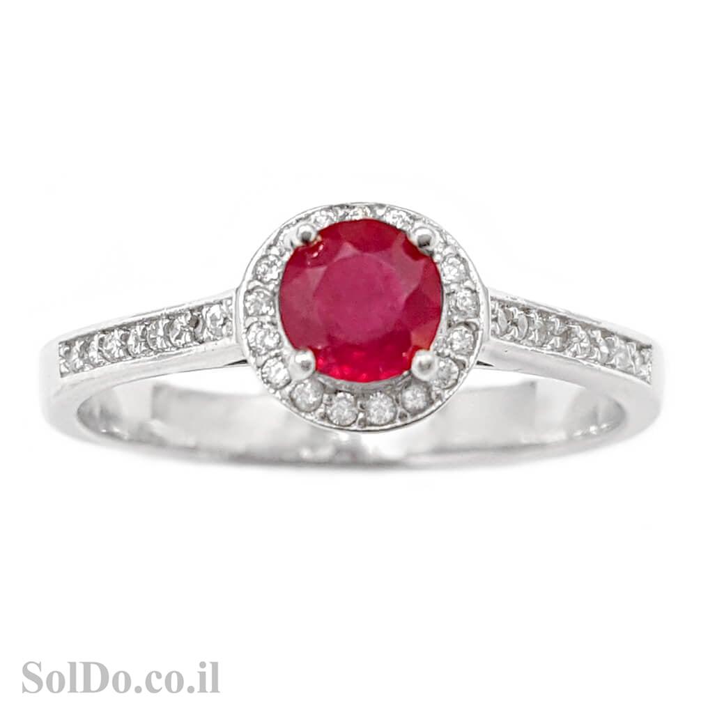 טבעת מכסף משובצת אבן רובי אדומה ואבני זרקון קטנות  RG1590   תכשיטי כסף 925   טבעות כסף