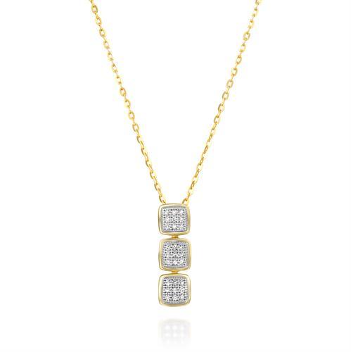 שרשרת ותליון השביל הקסום משובץ יהלומים בזהב צהוב או לבן 14 קראט