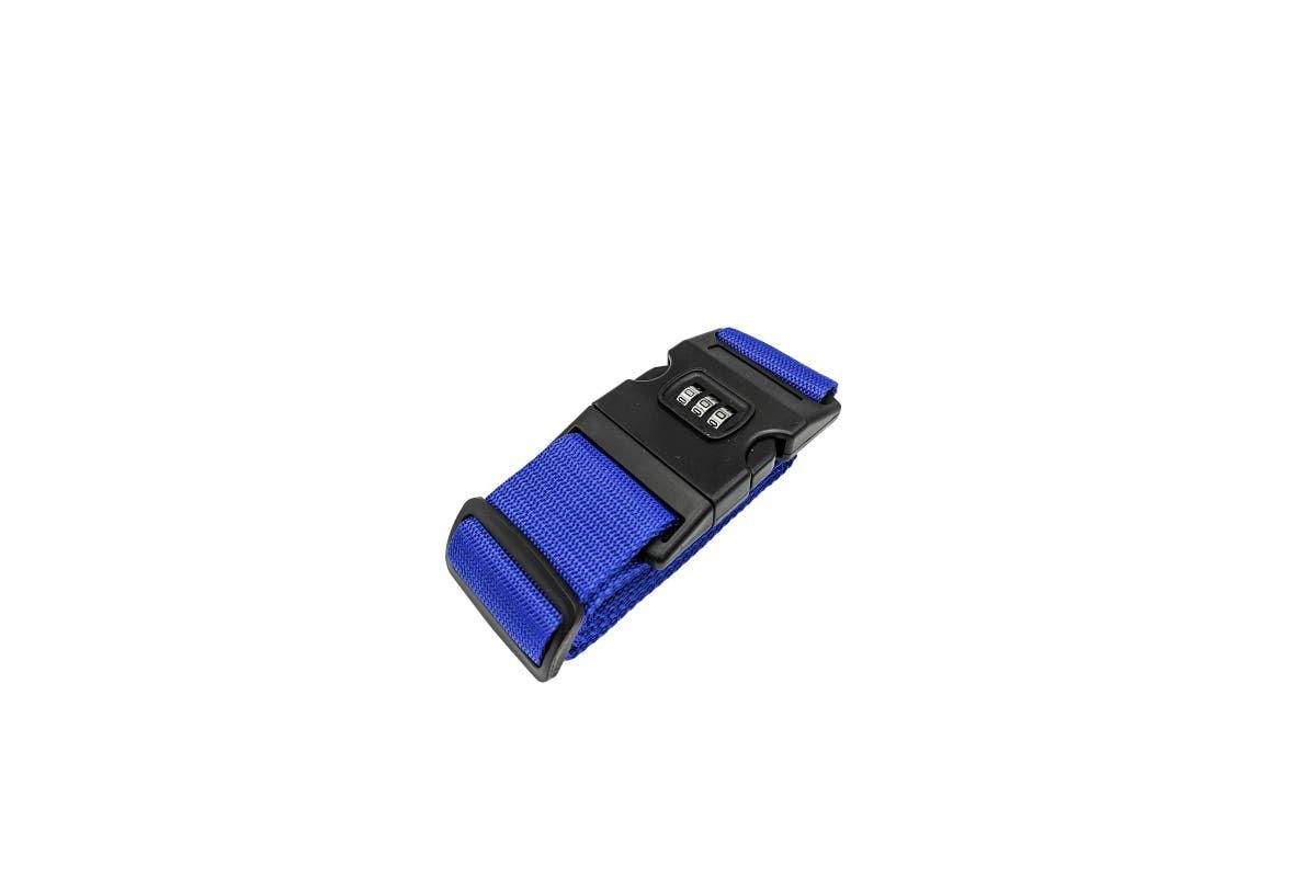 רצועת קשירה למזוודה עם מנעול קוד -צבע כחול