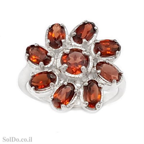 טבעת מכסף משובצת אבני גרנט RG1690 | תכשיטי כסף 925 | טבעות כסף