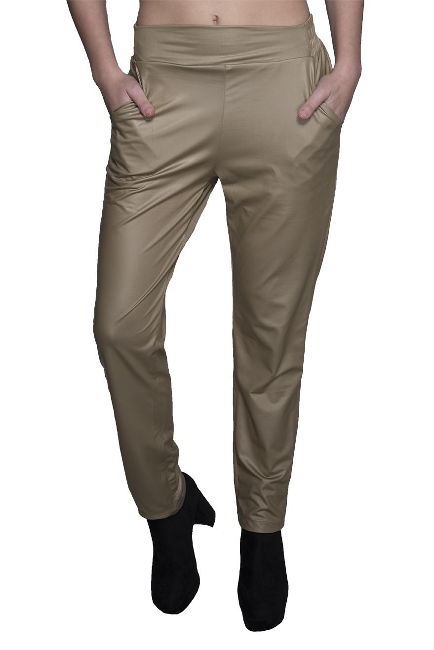 מכנס דמוי עור עם גומי בצבע זהב קדמי