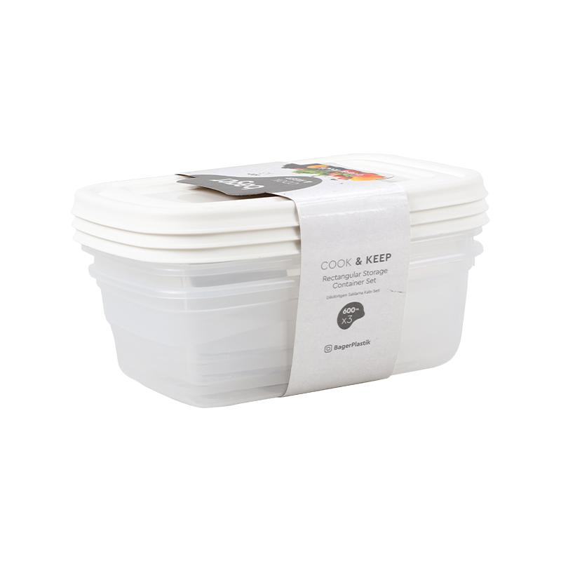 סט 3 קופסאות 600ML מלבן Cook&Keep BG-616