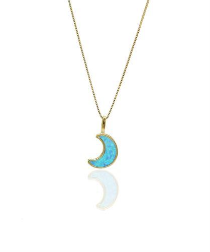 שרשרת ירח זהב מאבן אופל