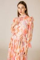 שמלת ערב קומות שיפון שילוב חגורת סאטן
