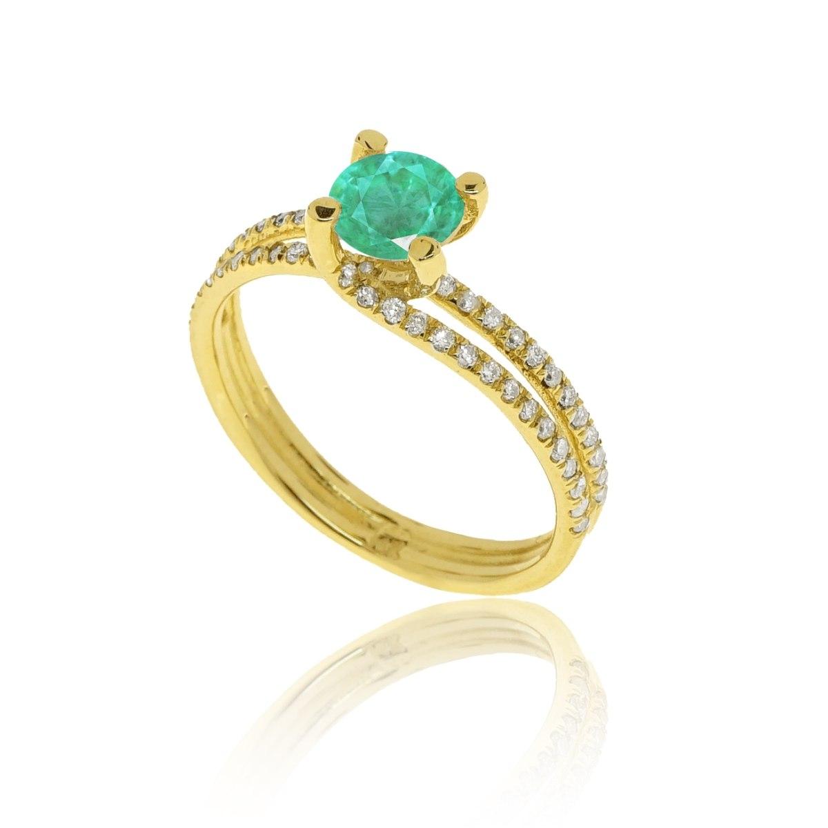 טבעת מעוצבת יהלומים │ טבעת זהב עם יהלומים │ טבעת זהב לאישה עם אמרלד ויהלומים