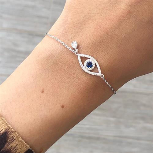 צמיד עין כחולה עם טיפה - כסף 925