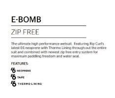 RIP CURL E-BOMB 4/3 Zip Free Wetsuit
