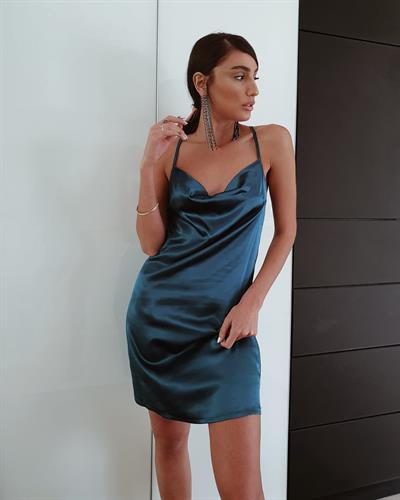 שמלת מיני דונה ליידי - טורקיז בקבוק