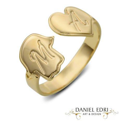 טבעת חמסה ולב חריטה