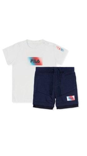 חליפת תינוקות לבנה לוגו כחול אדום FILA