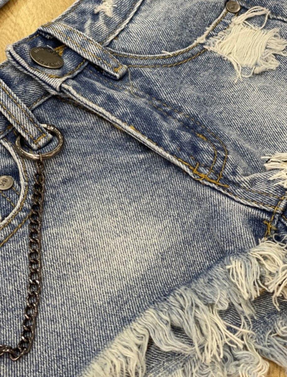 שורט ג'ינס בשילוב שרשרת  MISS KIDS