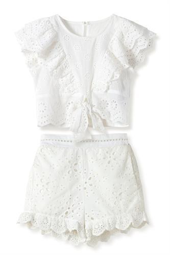 חליפת טופ קשירה ומכנס - חגיגית לבנה