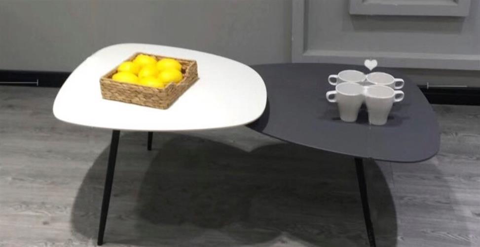 שולחן סלון שחור לבן מידות 120×60×45
