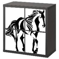 4 יח' טפט להדבקה על דלת כוורת (KALLAX)- סוס שחור לבן