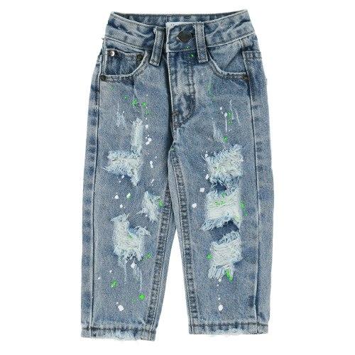 ג׳ינס כחול ארוך עם קרעים ושפריצים של צבע MISS KIDS - מידות 2-18