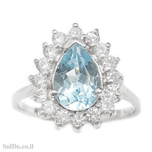 טבעת מכסף משובצת אבן טופז כחולה בצורת טיפה  וזרקונים RG1650 | תכשיטי כסף 925 | טבעות כסף