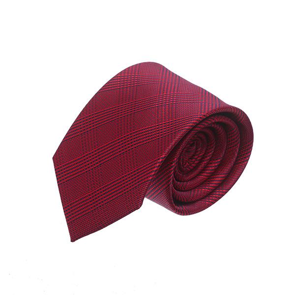 עניבה משבצות אדום יין