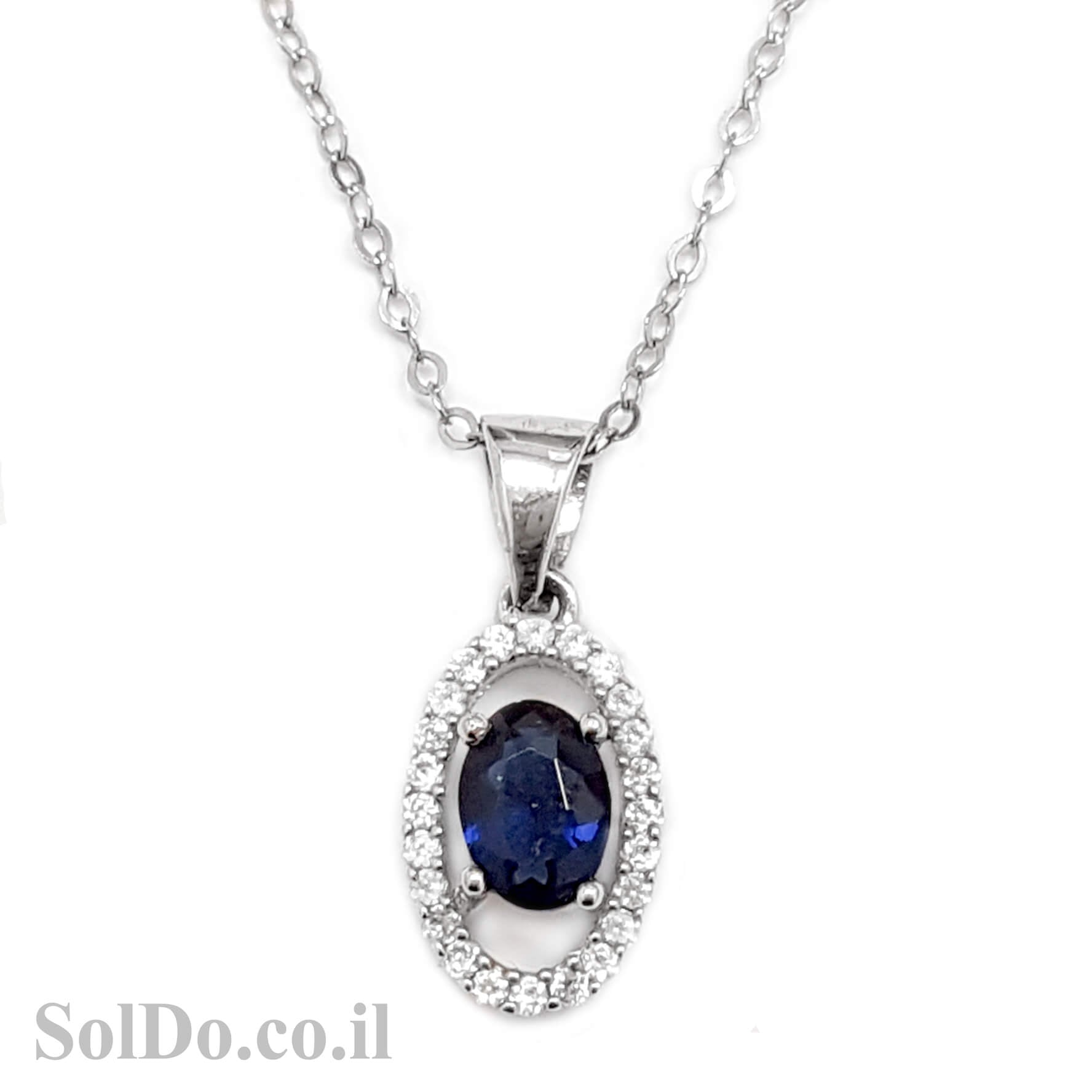 תליון מכסף  משובץ אבן זרקון כחולה מרכזית ואבני זרקון T8604 | תכשיטי כסף