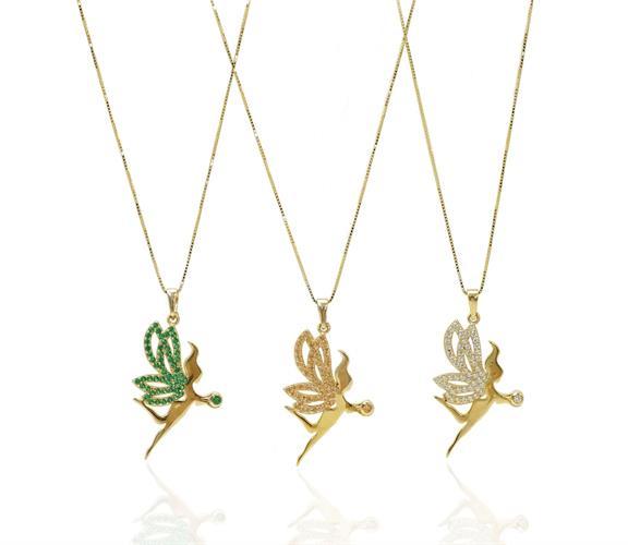 שרשרת פיות תכשיטי פיות שרשרת פייה שרשרת ותליון זהב בסגנון פייה משובץ זרקונים