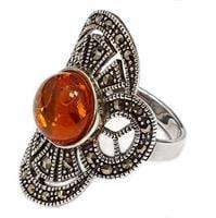 טבעת מכסף בשילוב ענבר צבע קוניאק ומרקזטים  RG5965 | תכשיטי כסף 925 | טבעות כסף