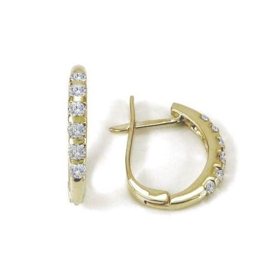 עגילי יהלומים | עגילי חישוק יהלומים | עגילי בננה משובצים ביהלומים