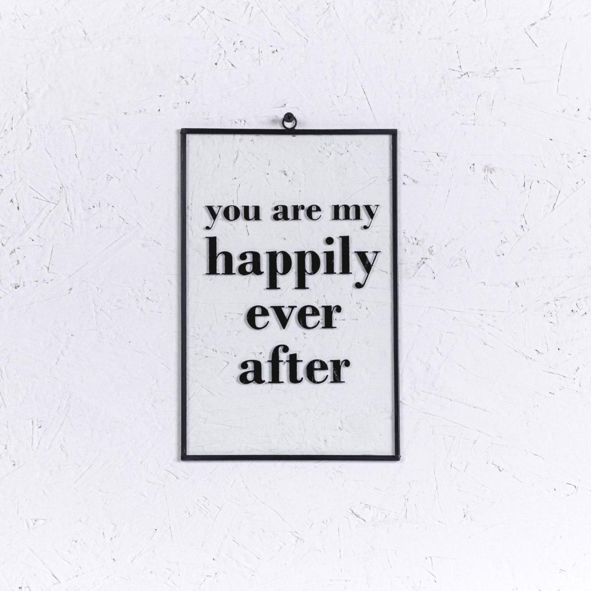 שלט זכוכית גדול - HAPPILY