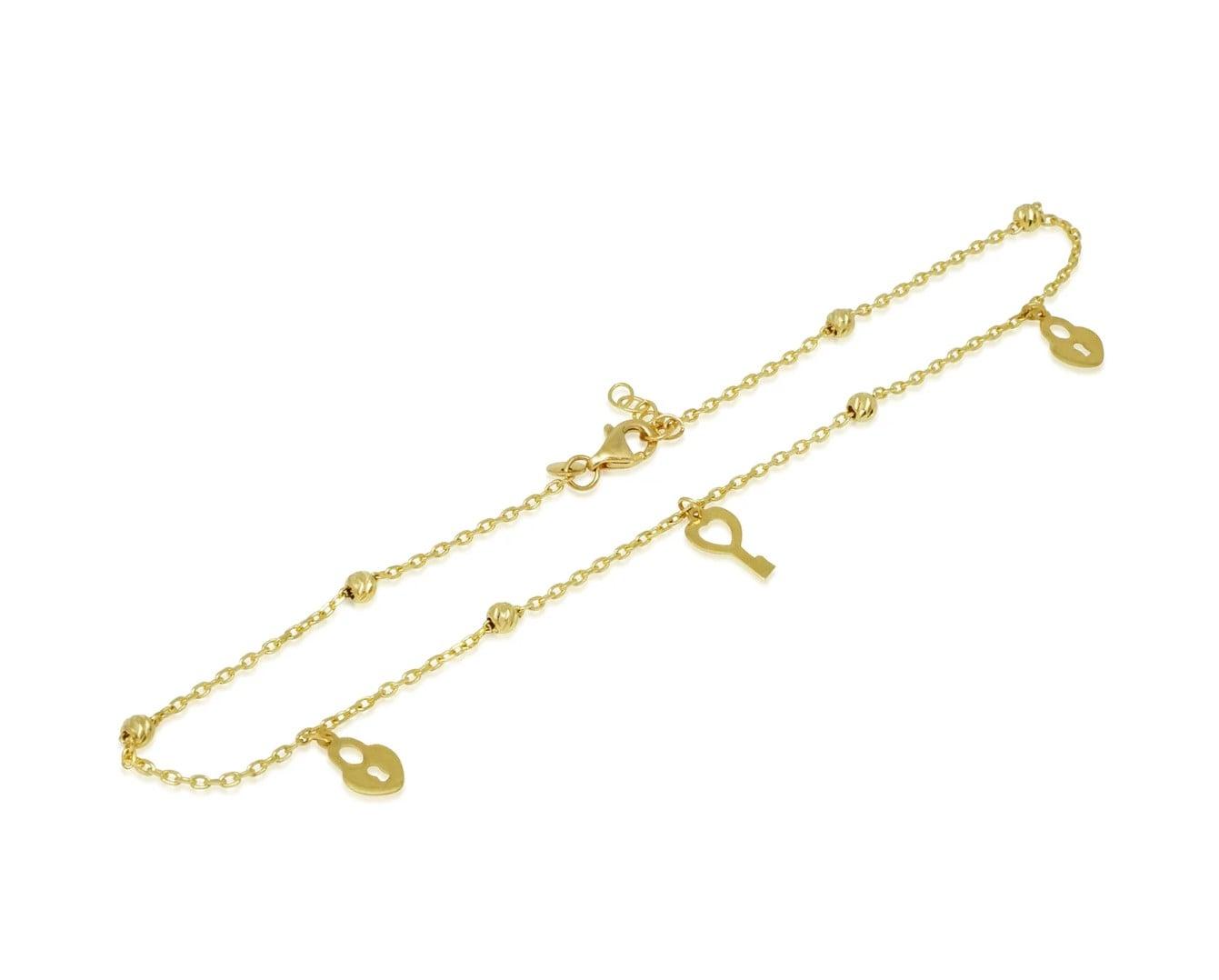 צמיד לרגל זהב עם תליוני מנעולים