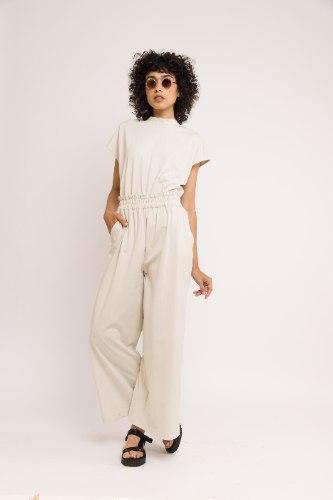 סט מכנסי מדו + חולצת נם - אבן