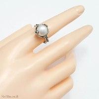 טבעת מכסף מעוצבת משובצת פנינה לבנה  RG6281 | תכשיטי כסף 925 | טבעות כסף