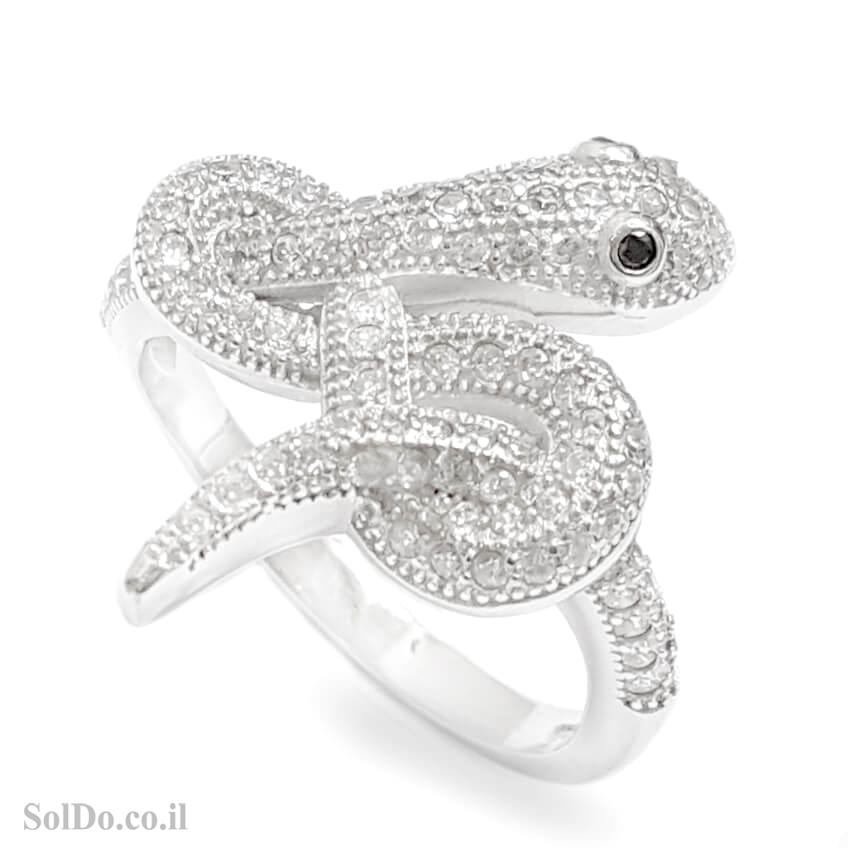 טבעת מכסף דגם נחש משובצת אבני זרקון  RG6152 | תכשיטי כסף | טבעות כסף