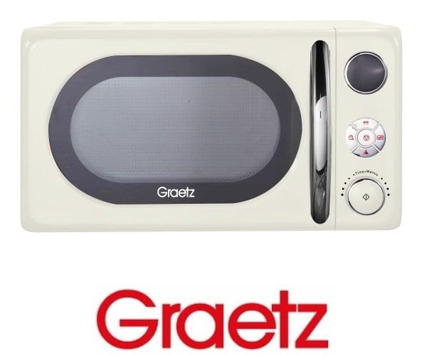 Graetz מיקרוגל דיגיטלי 20 ליטר בעיצוב רטרו גוון קרם  דגם MW-452
