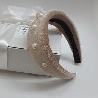 קשת קטיפה מעוצבת עם פנינים - דגם גל