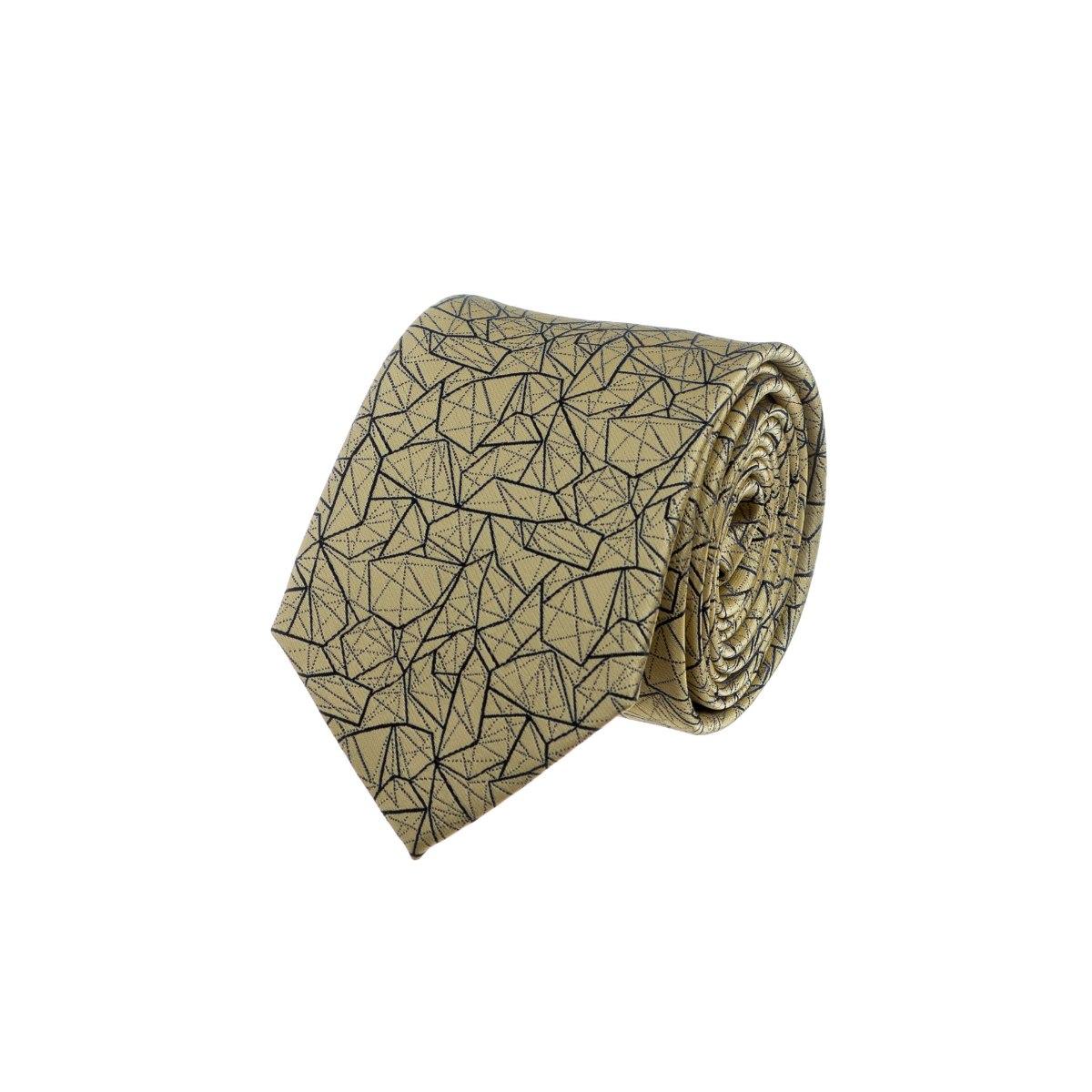 עניבה דגם גאומטרי צהוב