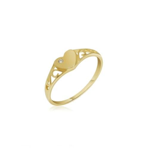 טבעת חותם לב וזרקון בפינה