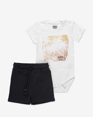 MINENE סט בגד גוף ומכנסיים שמנת מידות 6-24 חודשים