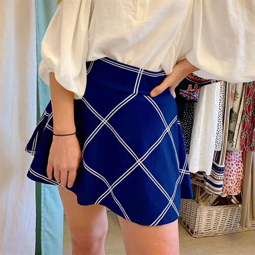 חצאית קלוש  סיס - כחול/לבן