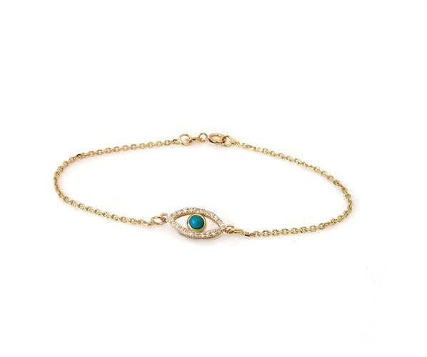 צמיד זהב עין הרעה משובץ יהלומים ואבן חן טורקיז