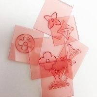 SET OF SIX LOUIS VUITTON ELEMENTS 3*3 CM EACH - IN ONE SURFACE