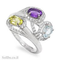 טבעת מכסף משובצת אבני אמטיסט, טופז כחול ופרידוט וזרקונים RG1620