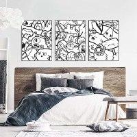 סט שלוש ציורים לעיצוב הבית של האמן כפיר תג'ר