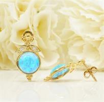 עגילי זהב עם אופל כחולה צמודים נתלים
