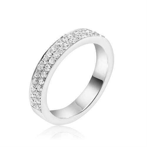 טבעת יהלומים בזהב לבן 18 קרט | משלימה קראט