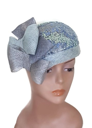 כובע מעוצב אלגנטי/ תכלת