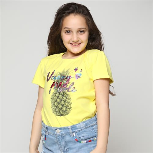 חולצה בנות כותנה לייקרה דגם אננס