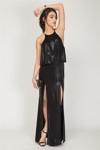 שמלת פלטיניום שחור מבריק