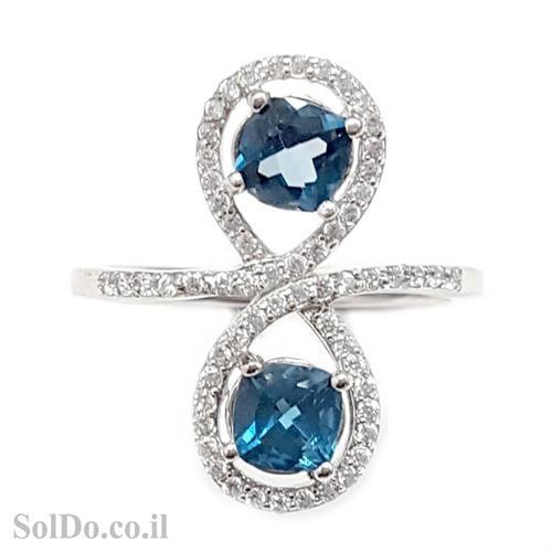 טבעת מכסף משובצת 2 אבני טופז כחולות וזרקונים RG1577