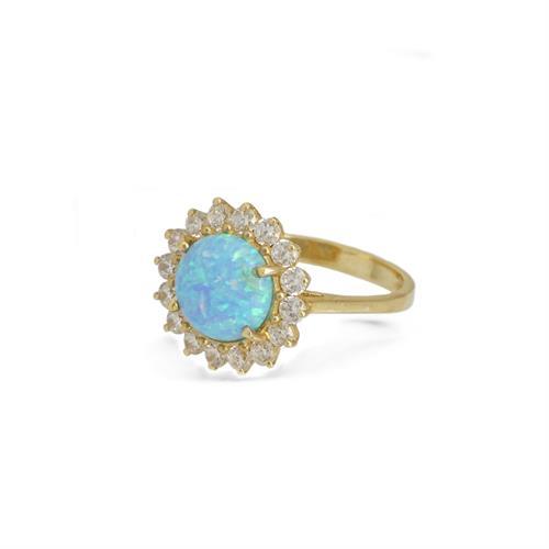 טבעת זהב 14K משובצת זרקונים ואבן אופל (לבחירה)