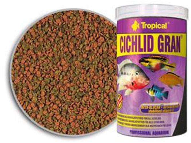 """מזון מגורען לדגים טורפים עם מחזק צבע 250 מ""""ל (tropical)"""